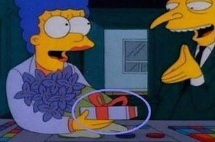 Errores en los simpson cambio de color en el regalo de Marge