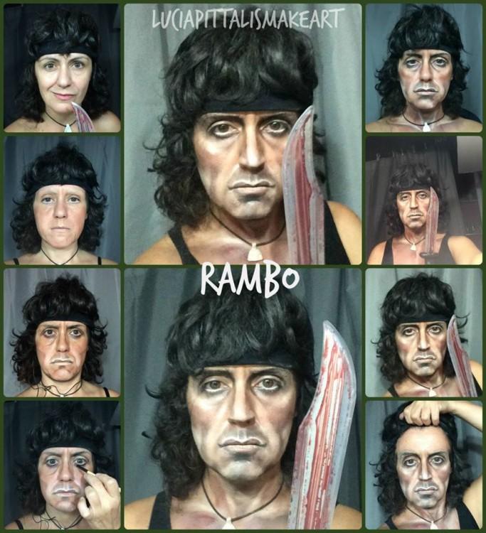 Transformación de Lucía Pitallis como Rambo