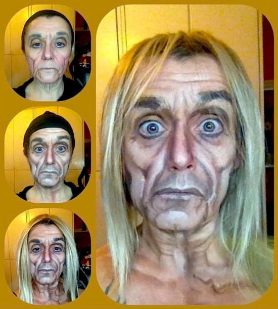transformación de Lucía Pitallis en Iggy Pop