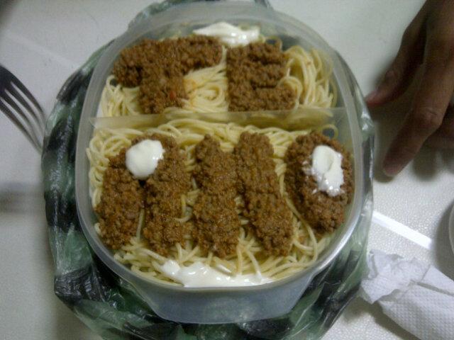 Mensaje con carne en espagueti