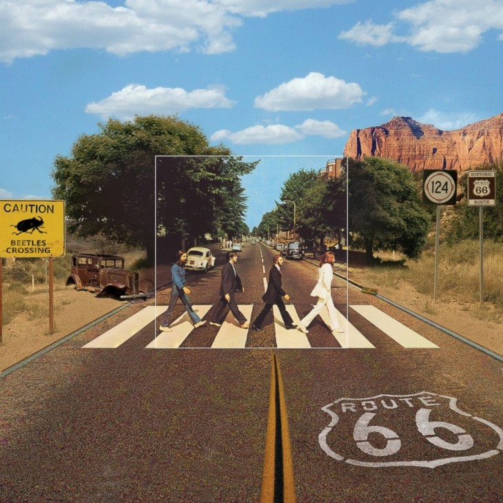 "Portada extendida del disco de The beatles ""Abbey Road"""