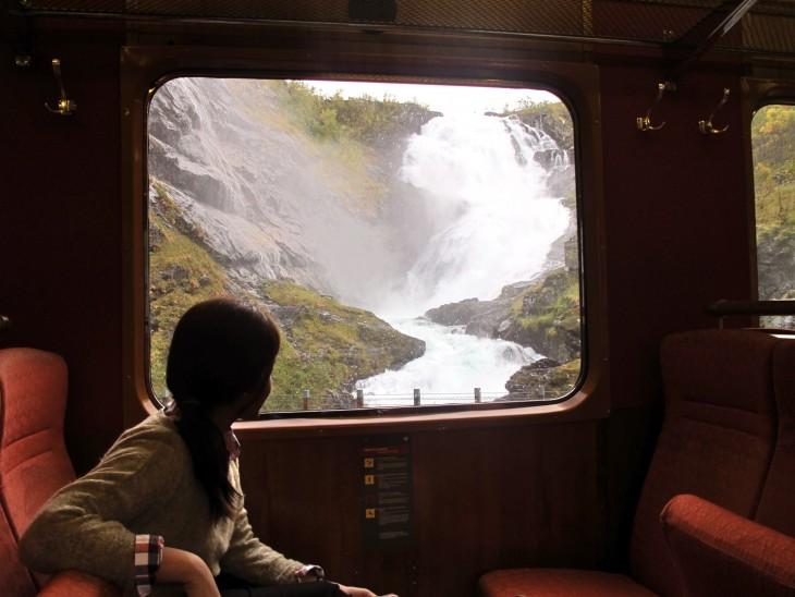 Mujer viajando en tren con un paisaje de fondo