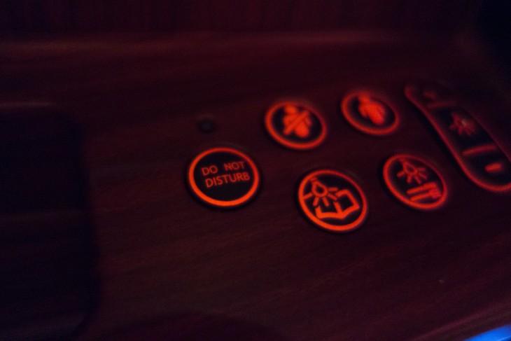 botones rojos de primera clase de avion