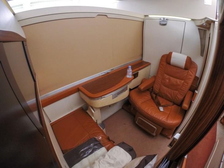 asientod e primera clase de aerolineas singapour