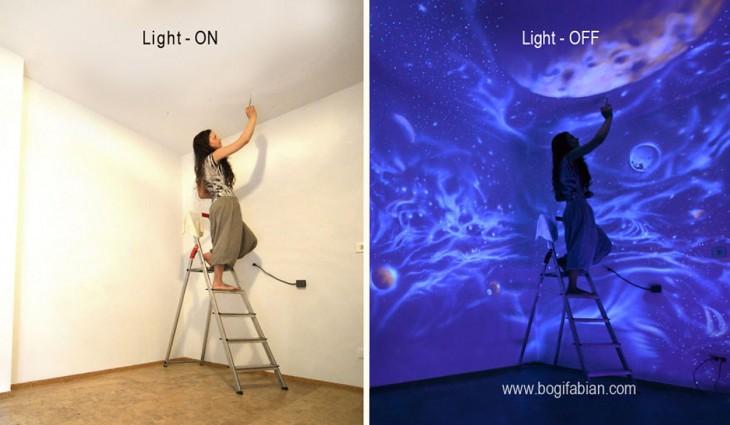 mujer pintado pared con luz y sin luz