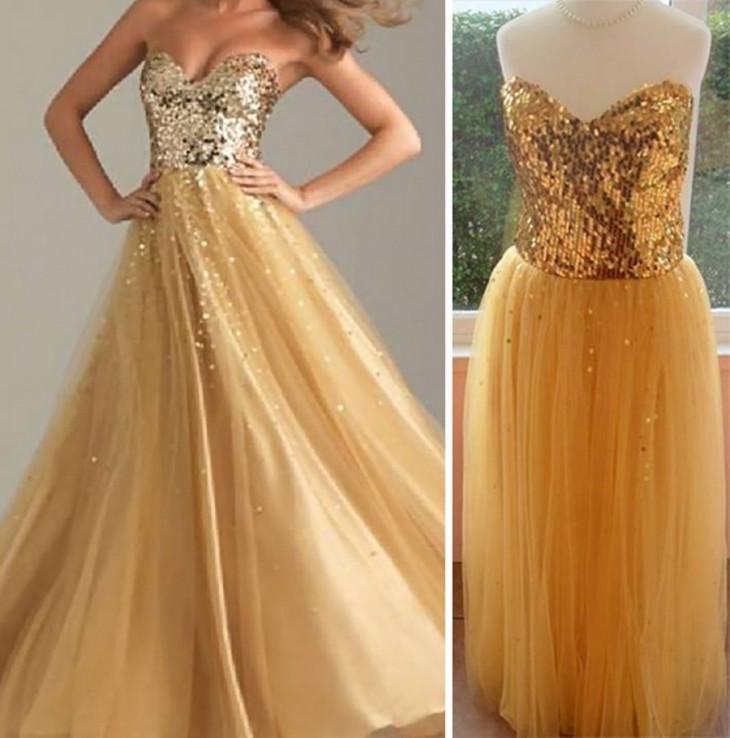 vestido dorado de gasa con lentejuelas doradas