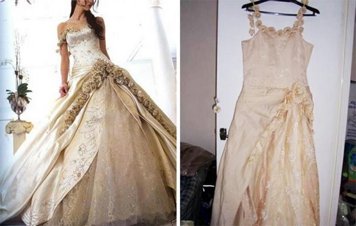vestido de novia color beige con