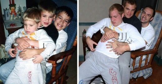 3 hermanos recrean fotos para su madre como regalo