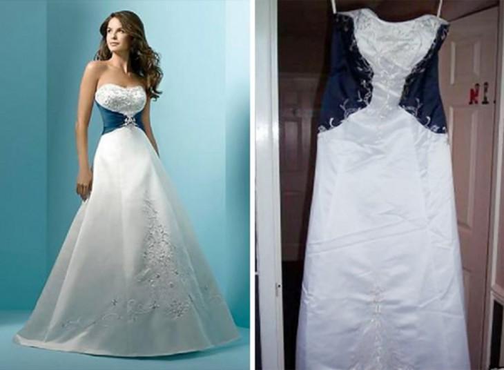 vestido blanco con aplicacion azul