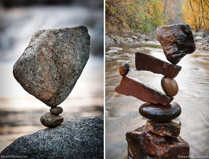 monumentos en piedra en el rio