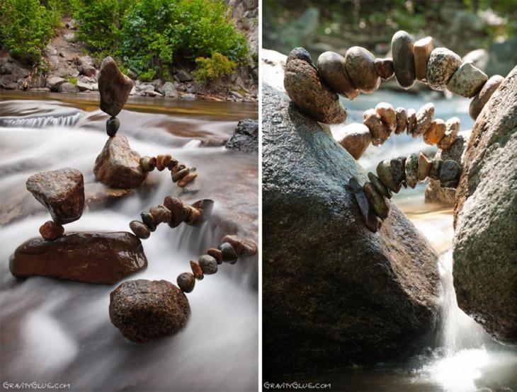 mini puentes hecho de piedras