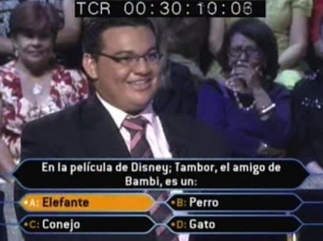 Fails en concursos de TV, tambor el amigo de bambi no es un elefante