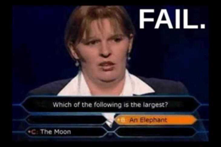 Fails en concursos de TV, cree que un elefante es mas grande que la luna