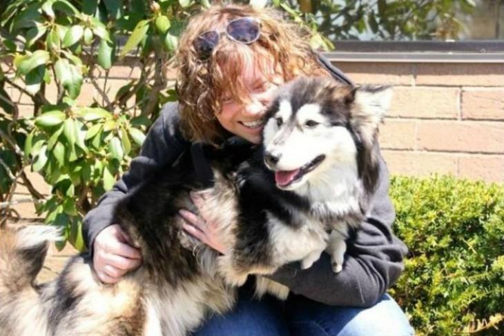 perro husky con mujer abrazados
