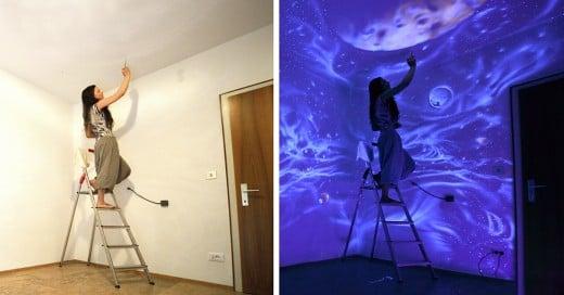 cuando apaga la luz sus muros se convierten en mundos de ensueño