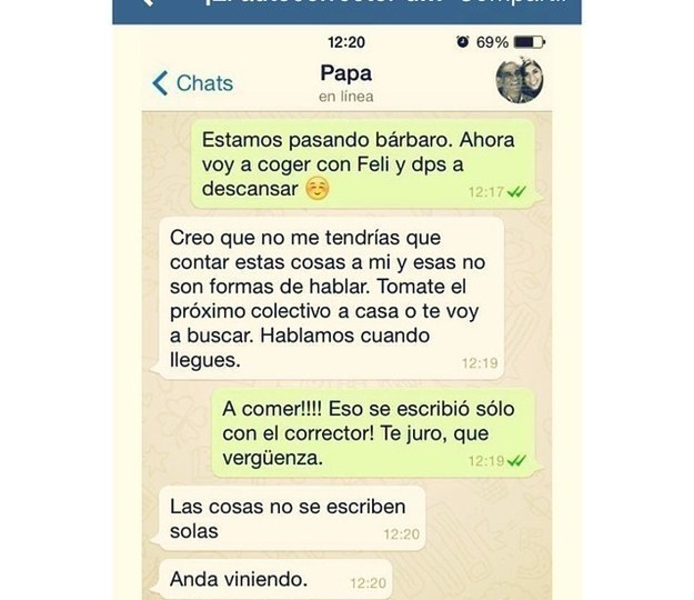 Screenshot de una conversación de una chica con su padre y tiene un error horrible