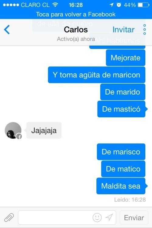 Captura de pantalla de una conversación por facebook entre dos personas deseando se mejore de salud