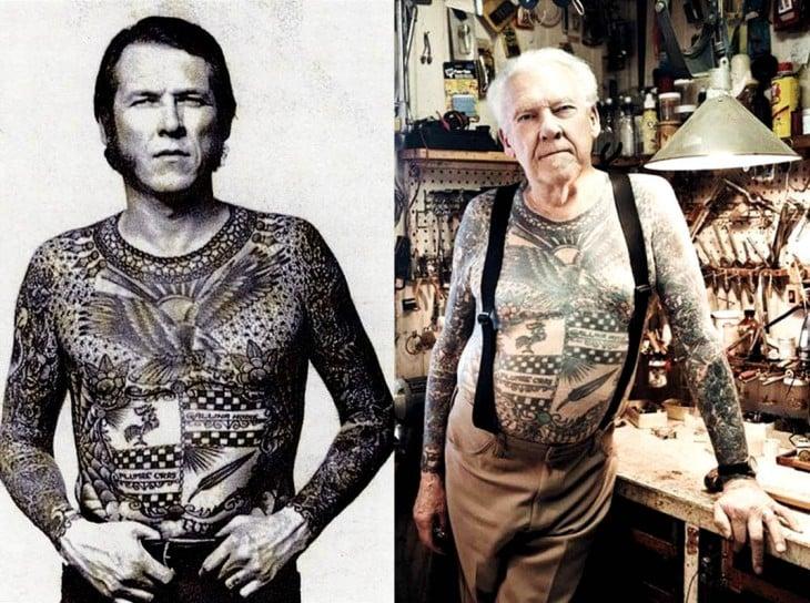 el antes y después de un hombre con el cuerpo tatuado