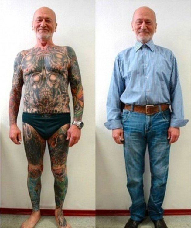 hombre de edad mayor con tatuajes con ropa y sin ropa