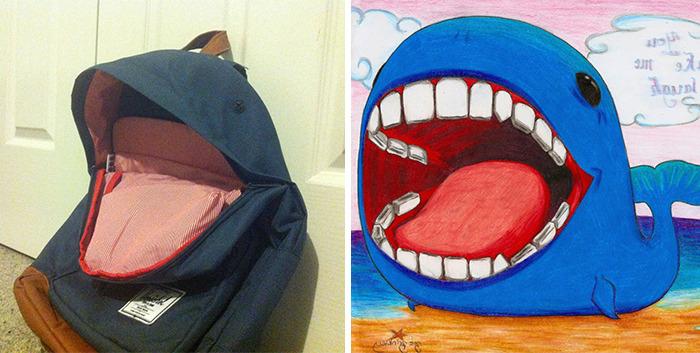 Mochila a un costado de un dibujo de ballena