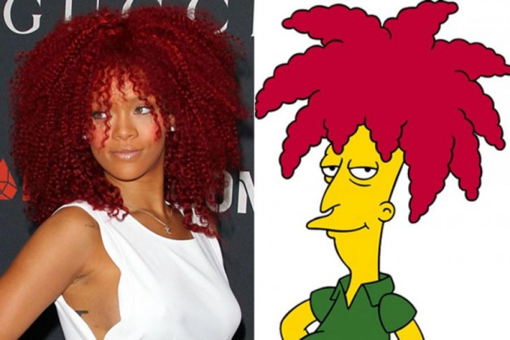 Rihana parecida a Bob Patiño un personaje de los Simpson