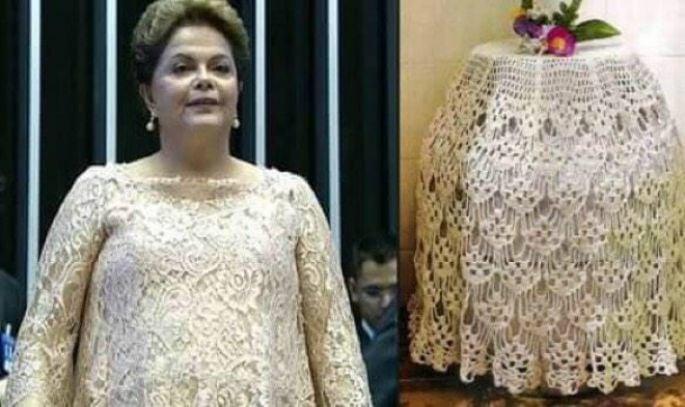 vestido de la presidenta de brasil a un costado de un mantel