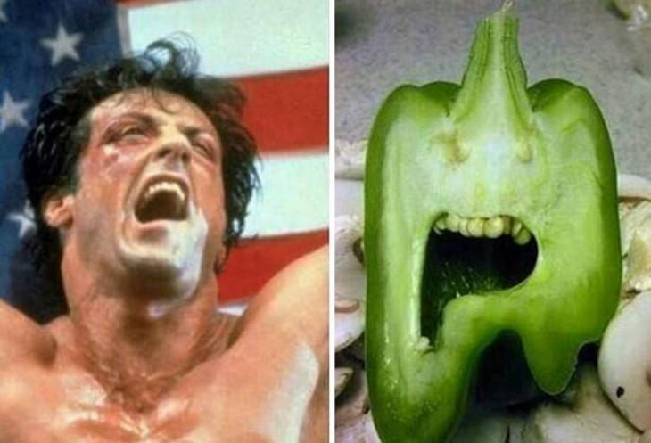 Silvestre Stallone dando un grito a lado de un pimentón que simula tener boca y dar gritos