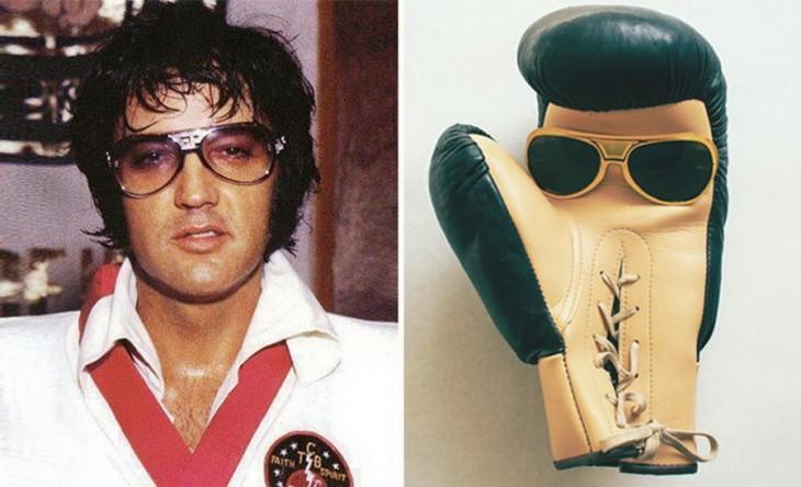 Elvis presley junto a un guante de box con lentes