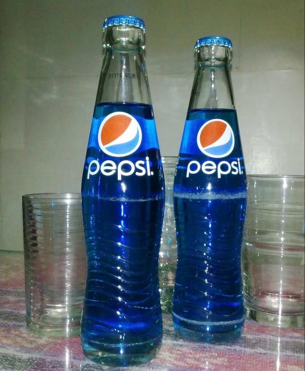 Pepsi blue de botella de vidrio