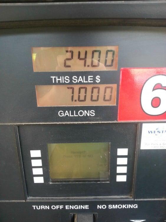 bomba de gasolina con números alineados