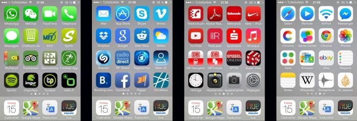 pantallas de colores de un celular