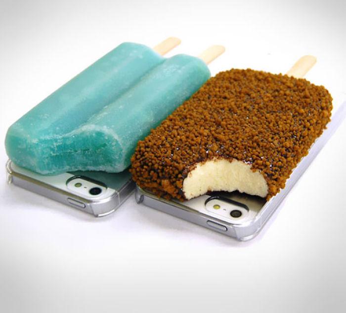 Funda para iphone con forma de paletas de hielo en la parte trasera