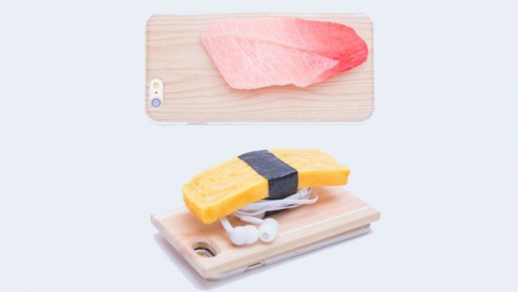 Funda para iphone con tabla de picar con suchi encima