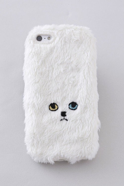 funda de tela en color blanco para iphone con diseño de un gatito