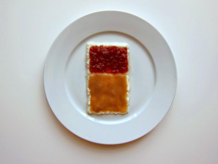 Hannah Rothstein' plato con comida al estilo Mark Rothko