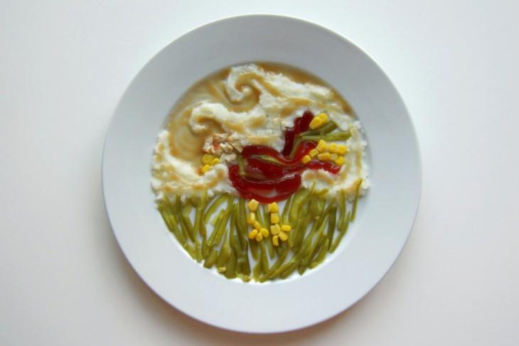 Hannah Rothstein' plato con comida al estilo Vincent Van Gogh
