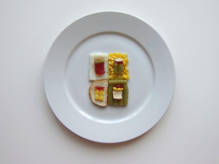 plato con comida al estilo Andy Warhol