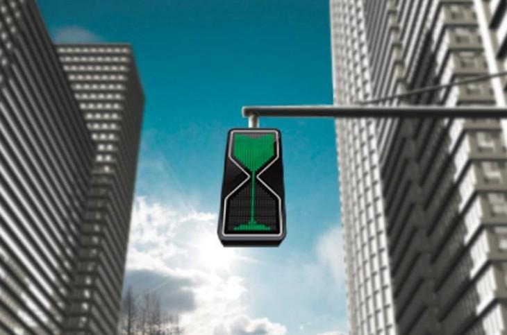 Semáforo en forma de reloj de arena en color verde