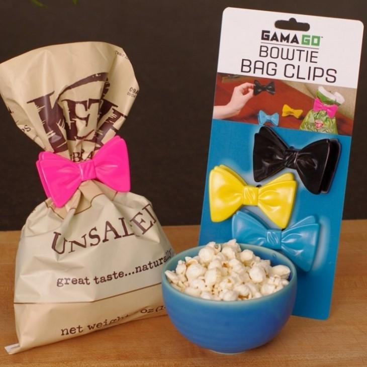 Broches que se colocan sobre las bolsas y mantiene tus productos frescos