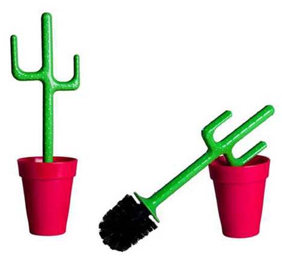 Escobilla para lavar baños con formas de cactus