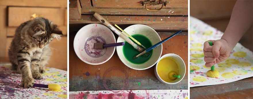 pinturas y gato de iris grace