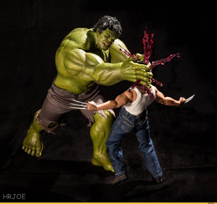 Hulk y wolverine en versión irónica de Edy Hardjo.