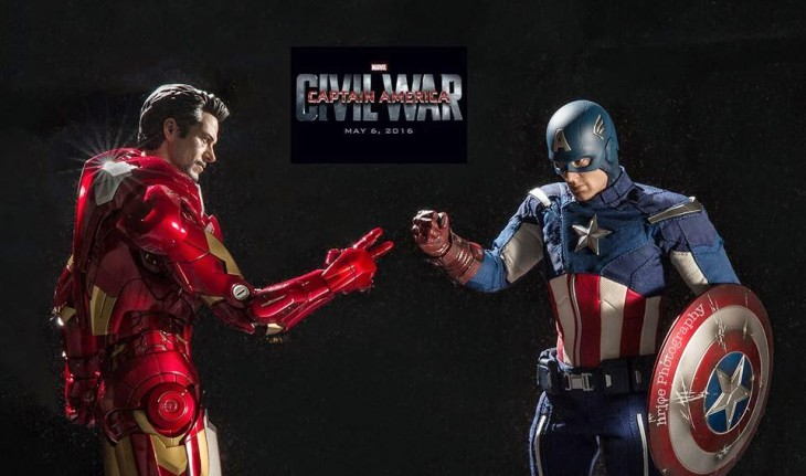 capitan america e ironman, civil war