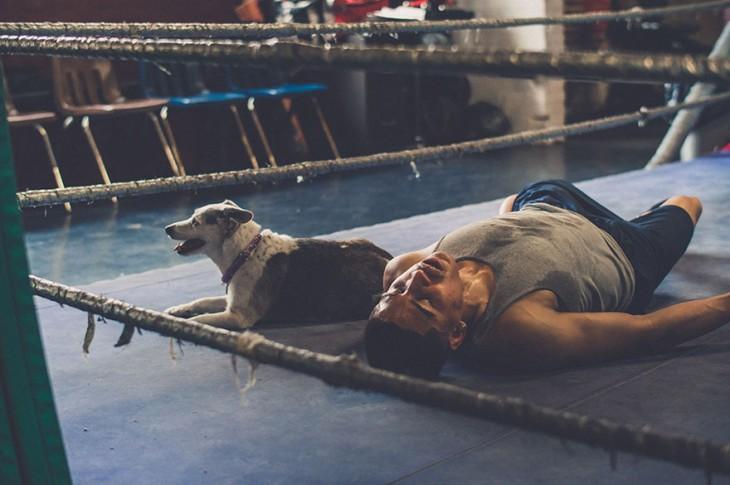 Un perro y un joven que entrena en un gimnasio