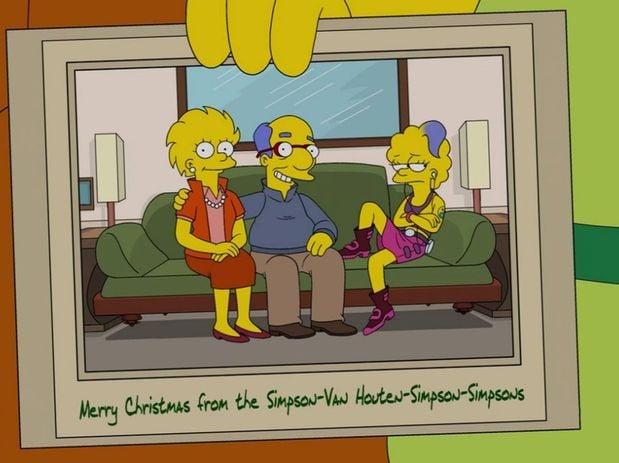 Lisa y Milhouse, junto a Zia (Simpson-Van Houten-Simpson-Simpsons)