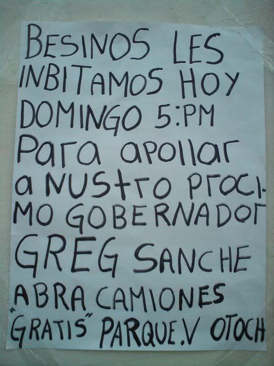 Letrero sobre una cartulina en color blanco donde hay una leyenda donde te invitan a apoyar a un candidato