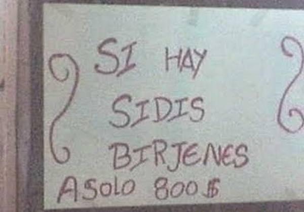Letrero con plumón rojo donde intentan decir que venden CDS
