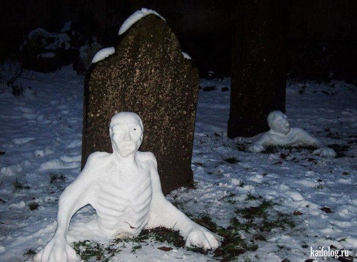 La noche de los muñecos de nieve vivientes saliendo de tumbas
