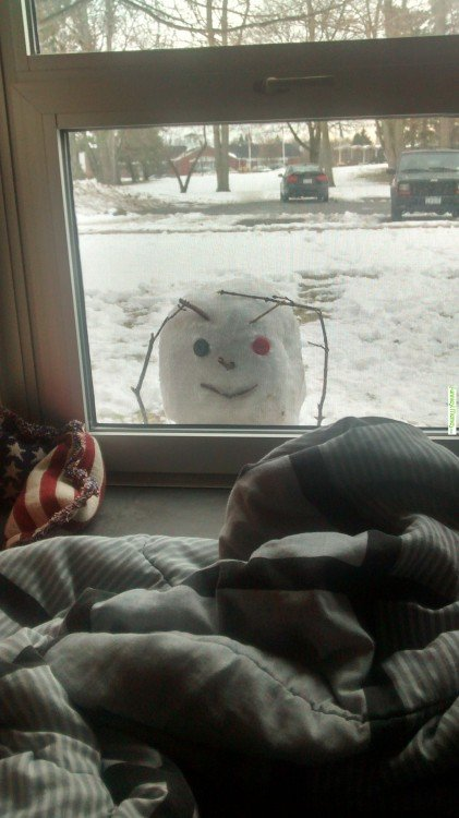 Muñeco de nieve fisgón