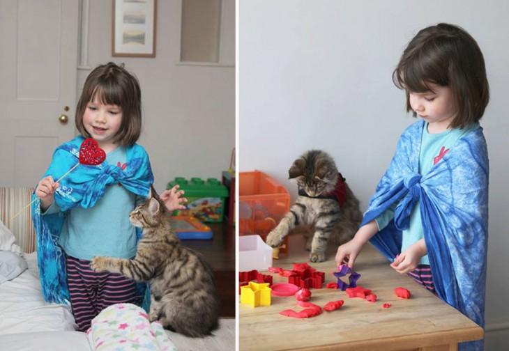 Imagen dividida en dos de Iris con su gato realizando diferentes actividades